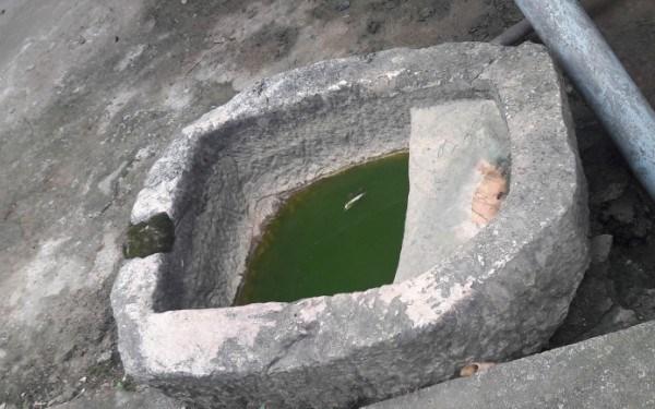 Một chiếc máng đá của người dân ở làng Phja Chang, xã Phúc Sen.